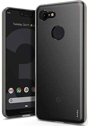 (Google Pixel 3 XL Case, Aeska Ultra [Slim Thin] Flexible TPU Soft Skin Silicone Protective Case Cover for Google Pixel 3 XL (Smoke)