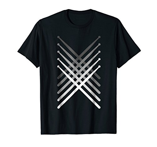 - Mens Percussion Drum sticks Black T-Shirt Small Black
