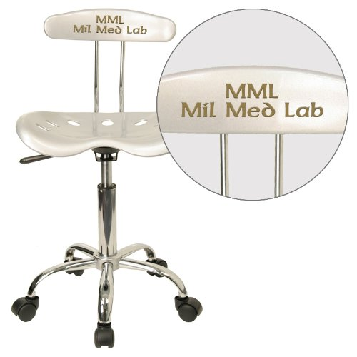 """Personalized Vibrant And Task Chair With Tractor Seat Silver/Chrome/16.5""""L x 17""""W x 34.75""""H"""