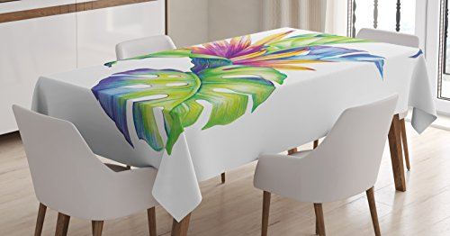 Plant Tablecloth by Ambesonne, Tropical Leaves and Monstera with Abstract Color Scheme Hawaiian Floral Elements, Dining Room Kitchen Rectangular Table Cover, 52 W X 70 L Inches, (Tropical Color Schemes)