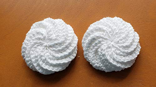 (Handmade dish scrubbies, dish scrubber, crocheted dishcloths, dish scrub pads, round dish cloth, pot scrubbies, cotton scubbies set of 2)