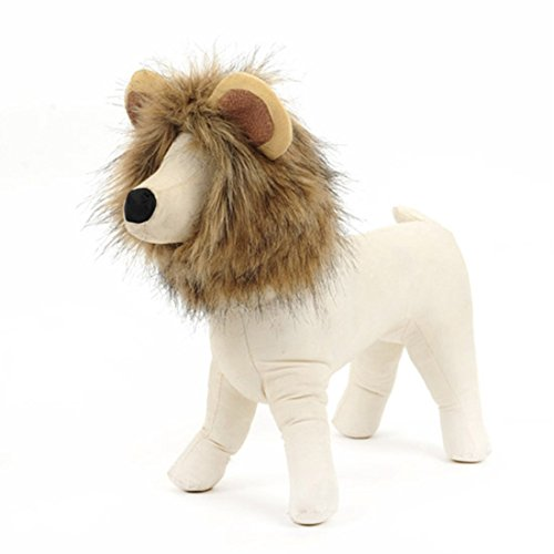 JTENGYAO Lion Mane Wig for Cat Pet Costume Pet Adjustable Lion Hair for Christmas Halloween Easter -