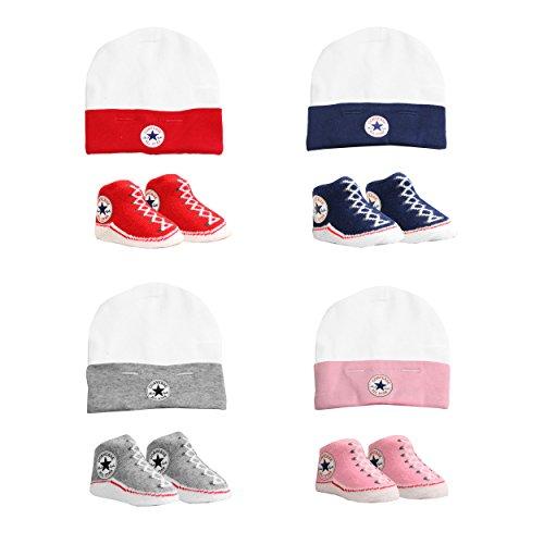 4922a19f26440 CONVERSE chapeau de bébé  Chaussette Set (0-6 Mois) - Gris
