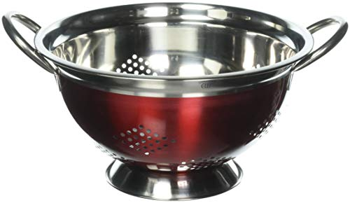 (Euro-Home SS-DK-3305 Gorgeous 5 quart Red Stainless Steel Colander, Multicolor)