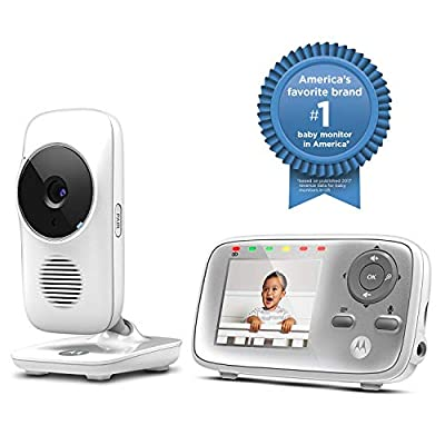 Motorola MBP483 2.4 GHz Digital Video Baby Monitor with 2.8-Inch Color Screen, Digital Zoom, Two-Way Audio, and Room Temperature Display