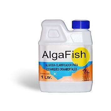 Algicida - Antialgas y Clarificador para lagos, estanques, fuentes, acuarios y peceras ornamentales. Algafish Botella 1 Litro: Amazon.es: Jardín