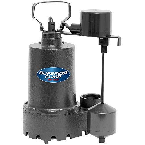 Superior Pump 92541 1/2 HP Vertical Float Switch Cast Iron Submersible Sump Pump
