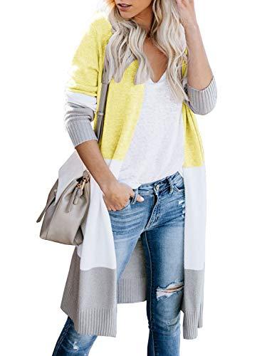 (Yacooh Womens Open Front Long Cardigan Boho Colorblock Long Sleeve Knit Lightweight Kimono Sweater Duster Coats Yellow)