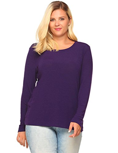 Zeagoo Women's Plus Size Long Sleeve Casual Soft Stretch Cotton Tshirt Tees(16W-24W) (Plus Size Stretch T-shirt)