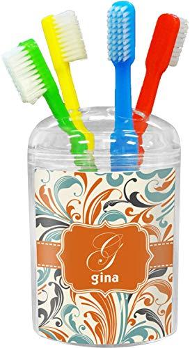 YouCustomizeIt Orange & Blue Leafy Swirls Toothbrush Holder (Personalized)