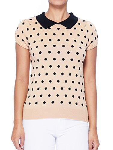 YEMAK Classic Collar Short Sleeves Polka Dot Stretchy Casual Pullover Sweater MK3673-TAN/BLK-L