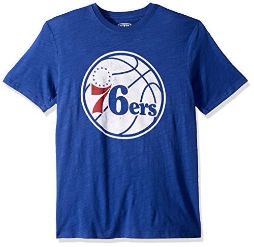 (NBA Philadelphia 76Ers Male OTS Slub Distressed Tee, Royal, Medium)