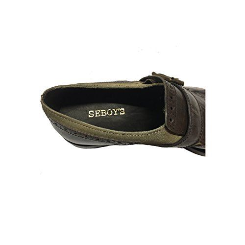 SEBOYS scarpa uomo mod P3838 100% pelle moro più camoscio beige MADE IN ITALY
