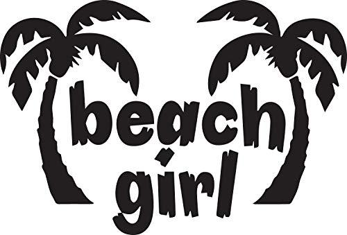 USCLIFESTYLE Girly Stuff Beach Girl Palm Trees (Black) (Set of 2) Premium Waterproof Vinyl Decal Stickers for Laptop MacBook Phone Tablet Helmet Car Window Bumper Mug Tuber Cup Door Wall Decoration (Two Trees Palm Logo)
