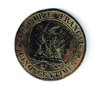 - 1852 FR Napoleon III Father of Paris Bronze 5 Centimes Coin With Clear Box,Story And Certificate. 18mm Very Good