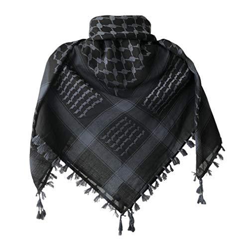 KINGREE Military Shemagh Tactical Desert 100% Cotton Keffiyeh Scarf Wrap, Shemagh Head Neck Scarf, Arab Scarf (Tassels-Dark Grey)