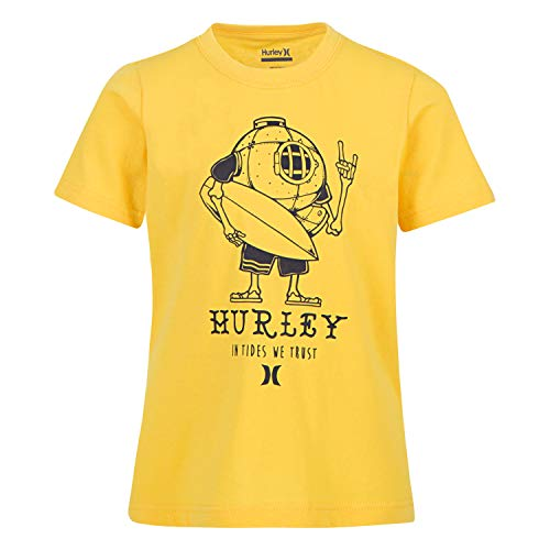 Hurley Boys Character Graphic T-Shirt, Varsity Maize L - Cotton Organic 60