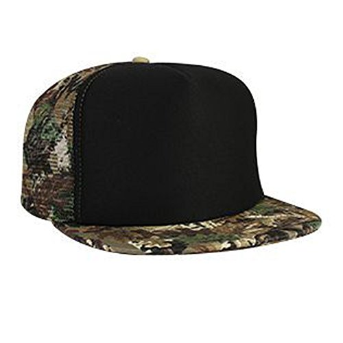 Otto Caps Camouflage Cotton Twill Flat Visor Polyester Foam Front Two Tone Color Five Panel High Crown Golf Style Mesh Back Cap (Cotton Golf Cap Panel Twill)