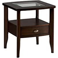 Bowery Hill Square End Table with Small Drawer in Merlot