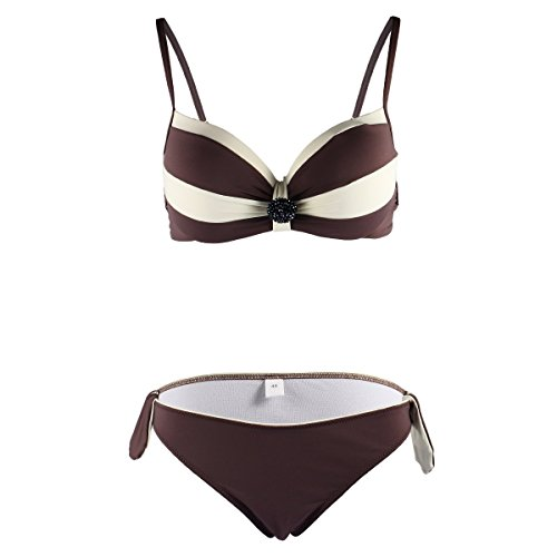 Allezola Women's Mixed Colors Bikini Swimsuit Bathing Suit Swimwear Sexy Push Up Brown L
