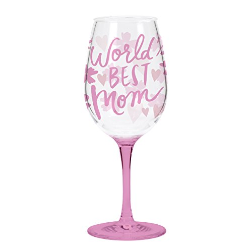 C.R. Gibson 16 Ounce, Acrylic, Wine Glass Singles, Perfect Gift, Hand Wash - World'S Best (Celebration Wine)