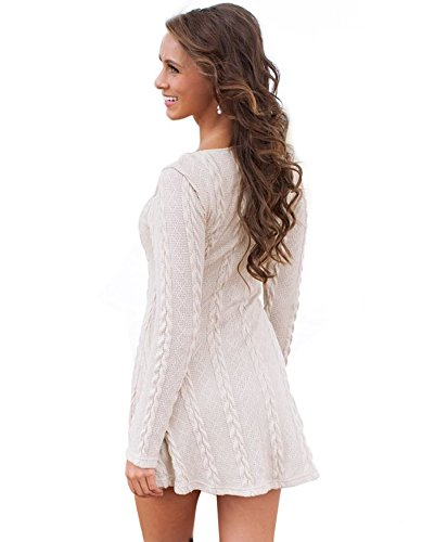 Sweater Knitted Womens Crewneck a Dress White YBWFqRx