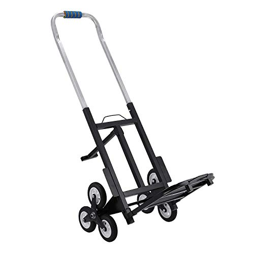 VEVOR Stair Climbing Cart Portable Climbing Cart 330 lb Capacity All Terrain Stair Climbing Hand Truck Folding Stair Hand Truck Heavy Duty with 6 Wheels (Black) from VEVOR