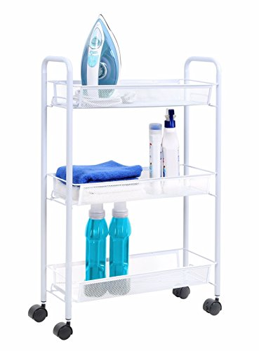 Laundry Utility Cart (Tidy Living - 3 Tier Shelf Multi Purpose Rolling Utility Cart Slim Mesh Organizer White)