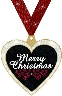 HOLIDAY AWARDS - 2.5'' Glitter Heart Merry Christmas Medal 50 Pack