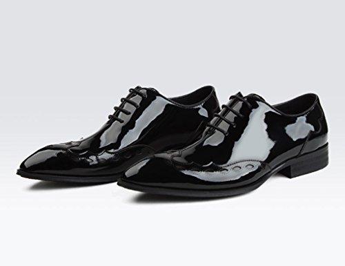 Negocios Hombres Negro Puntiagudos Hombre UK8 para EU43 Tamaño Boda Formal Ropa Clásicos Piel Encaje Cuero Color de Zapatos Zapatos de para Negro Zapatos de BwqzWIHvSa