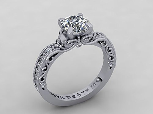 Amazoncom Skull Engagement Ring made in 14k White Gold with