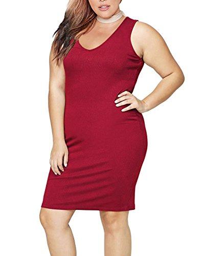 HDE Womens Plus Size Tank Top Dress Bodycon Casual Basic Sleeveless V Neck Tunic