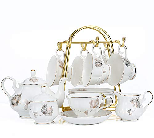 15-Piece Porcelain Ceramic Tea Gift Sets, Cups& Saucer Service for 6, Teapot, Sugar Bowl and Creamer Pitcher ()