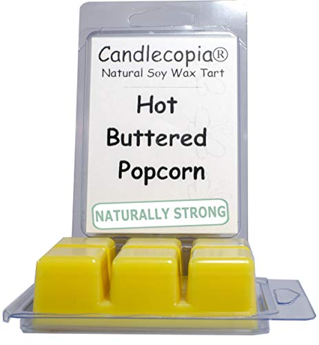 Hot Popcorn Buttered - Candlecopia Hot Buttered Popcorn Strongly Scented Hand Poured Vegan Wax Melts, 12 Scented Wax Cubes, 6.4 Ounces in 2 x 6-Packs