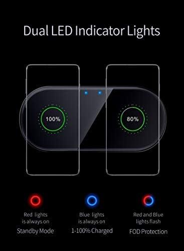 IPhone 11/11のPro / X/のX最大/XR / 8プラス/サムスンS10 / S10 + / S9 / S9 + / S8 + /注9に対応パッドを充電15Wのワイヤレス充電器、デュアルチー認定ワイヤレス、