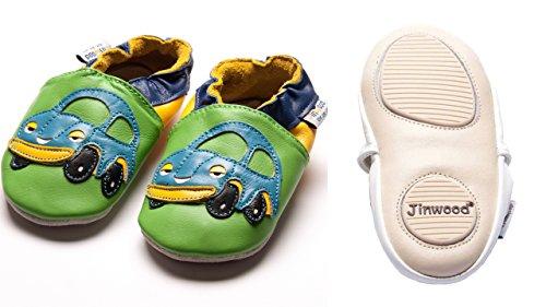 Jinwood designed by amsomo Verschiedene Modelle - Hausschuhe - Echt Leder - Lederpuschen - Krabbelschuhe - Mädchen - Jungen - Soft Sole - Mini Shoes Div. Groeßen 17/19-35/36 cars green mini shoes