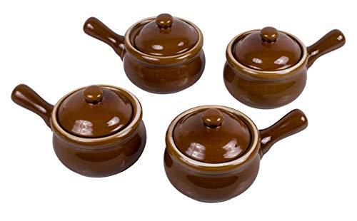 HIC Harold Import Co. 43400 Individual Brown Ceramic Stoneware 14 oz French Onion Soup Crock Chili Bowls (Set Of 4) (Serving Crocks)