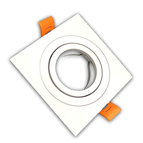 Pack 10x Aro Cuadrado para Foco Empotrable Aluminio. Aro Downlight. Soporte para GU10.