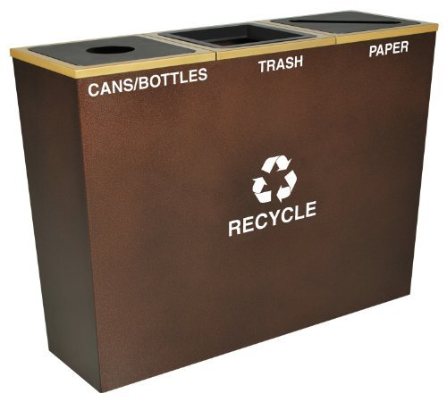 - Ex-Cell Kaiser RC-MTR-3 HCPR Metro Collection Steel Three Stream Tapered Indoor Recycling Receptacle, 18 Gallon Liner Capacity, 42