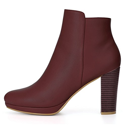 Allegra Dame K Bout Talon Rond Burgundy forme Plate Bottines 4wwaxrqd