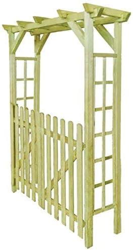 WT Trade Premium – Puerta Rose Arco Pérgola 150 x 50 x 200 cm | Madera Pino | Color Marrón | Jardín Arco Enrejado Rose Columna | Arco Escalada y ...
