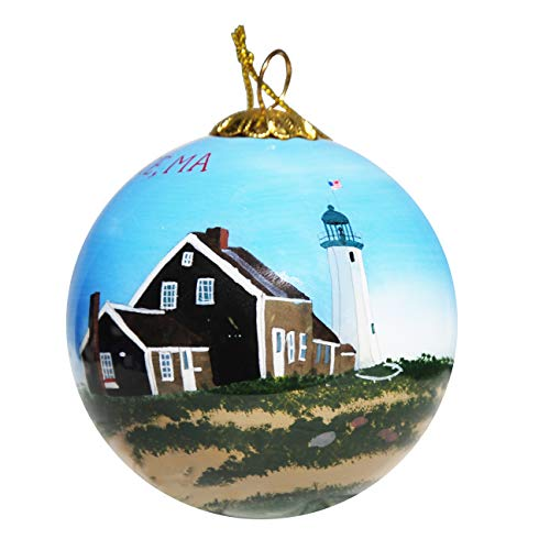 Art Studio Company Hand Painted Glass Christmas Ornament - Old Scituate Lighthouse