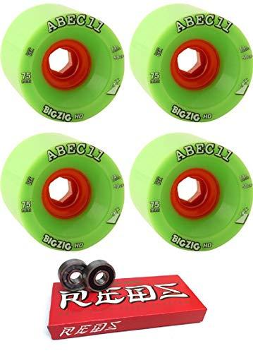 誕生日プレゼント ABEC 11 75mm ロングボード BigZig HD 11 ロングボード スケートボードホイール 75mm ボーンベアリング付き - 8mm ボーンスーパーレッド スケート定格スケートボードベアリング - 2点セット B07HNZ96L9, 大島町:a83c4e31 --- mvd.ee