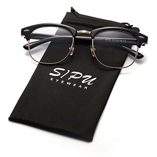 Clear Lens Glasses SIPU Semi-rimless Transparent Glasses for both Men and Women – Retro Brand Unisex Fashion Sun - Brand Good Glasses
