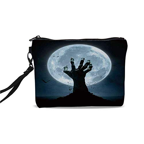 Halloween Decorations Simple Cosmetic Bag,Zombie Earth Soil Full Moon Bat Horror Story October Twilight Themed for Women,9