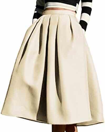 ce54e7f5c Yige Women's High Waisted A line Skirt Skater Pleated Full Midi Skirt