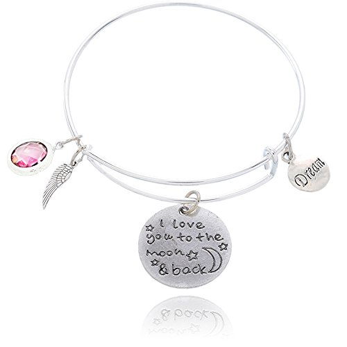 rling Silver Plated Engraved Message Charm Expandable Wire Bangle Bracelet for Woman I Love You To The Moon And Back Amethyst (14k Heavy Charm Bracelet)