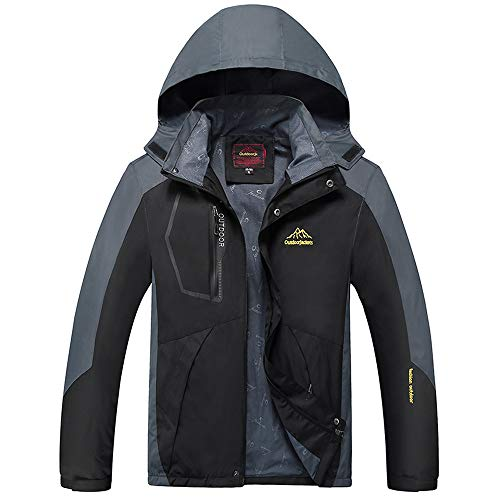 iLXHD Mens Waterproof Jacket Raincoats Outdoor Hiking Windproof Travel Jackets(Black,7XL]()