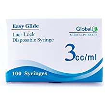 3ml Sterile Syringe Only with Luer Lock Tip - 100 Sterile Syringes by Global (No Needle)