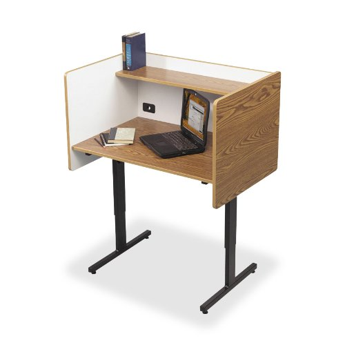 Balt Study Carrels with Laminate Finish, 37-Inch by 24-Inch by 38-1/4-46-1/4-Inch, Oak - Back Study Carrel